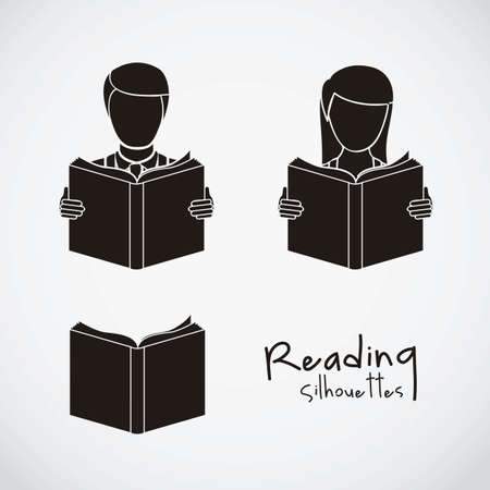 law library: Illustration of reading icons, people reading. vector illustration