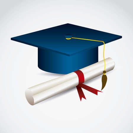 graduation cap and diploma: Illustration of icons of graduates. University icons. vector illustration Illustration