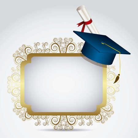 licenciatura: Ilustraci�n de los iconos de los graduados. Universidad iconos. ilustraci�n vectorial Vectores
