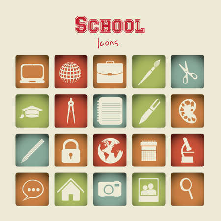 Illustration of useful icons and icons of college. vector illustration Vector