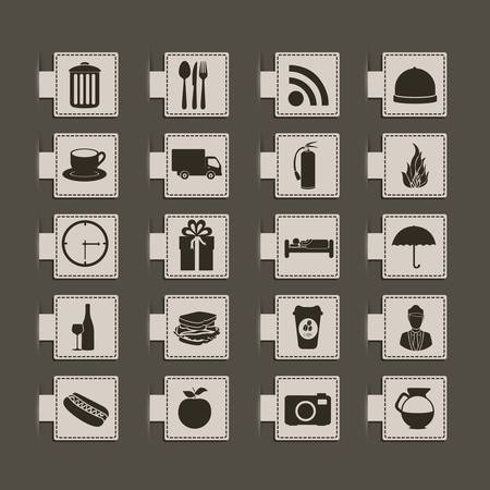 hotel icons illustration, food silhouettes, vector illustration Stock Vector - 17002663
