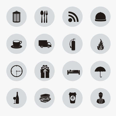 hotel manager: hotel icons illustration, food silhouettes, vector illustration