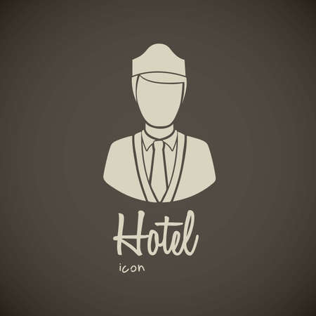 illustration of hotel icons, bellboy illustration, vector illustration Vector
