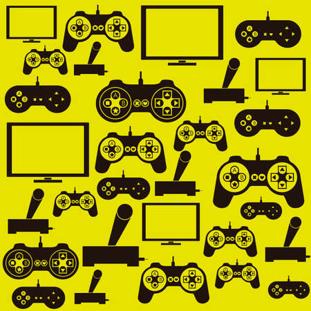 illustration of game controls, Videogames Silhouettes, vector illustration Vector