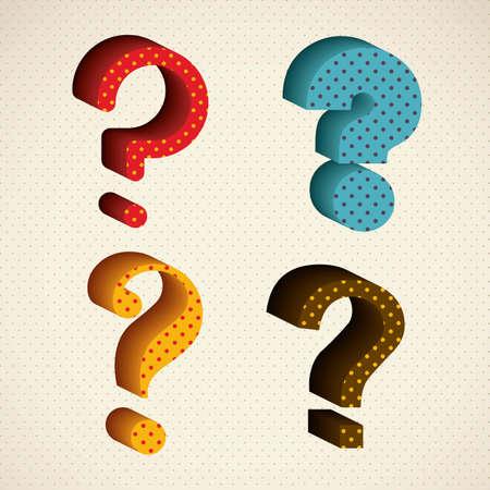 monumental: icon illustration of question, set of question mark silhouette, vector illustration