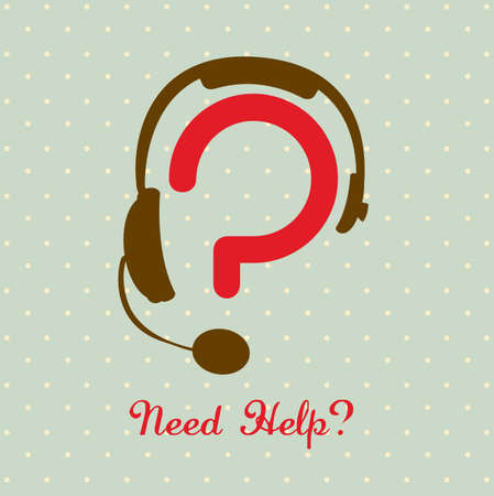 icon illustration of question, question mark silhouette with headphones, vector illustration Vector