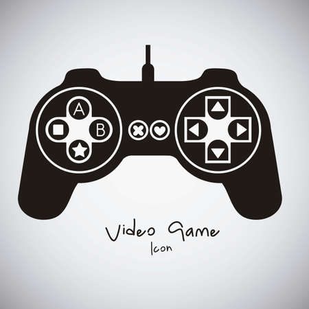 game console: illustration of game controls, Videogames Silhouettes, vector illustration