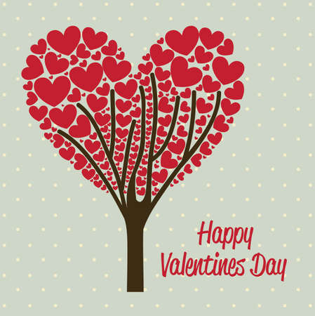 illustration of valentines day, tree of hearts, vector illustration Vector