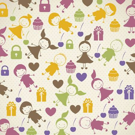 schoolboy: patron of children, child background with colored hearts and cupcakes, vector illustration