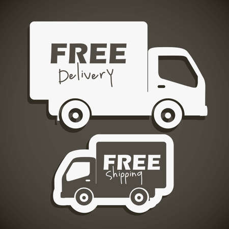 moving truck: illustration of icons shipments and free delivery, vector illustration
