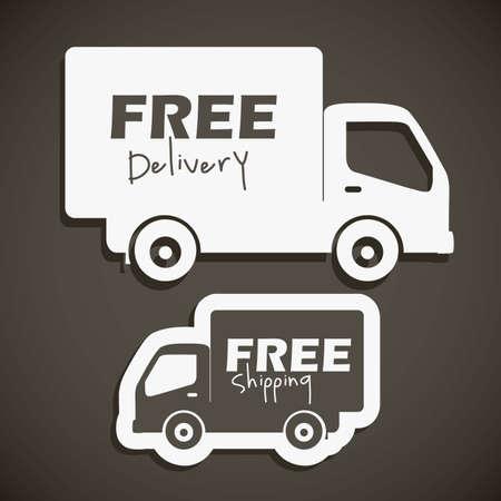 buen servicio: ilustraci�n de los iconos de los env�os y la entrega gratuita, ilustraci�n vectorial