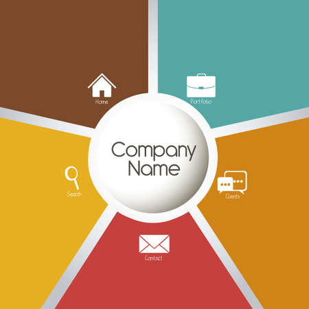 illustration of companys portfolio of services, web template, vector illustration Vector