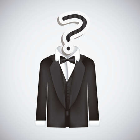 oversize: Icon of question, question mark silhouette with suit, vector illustration