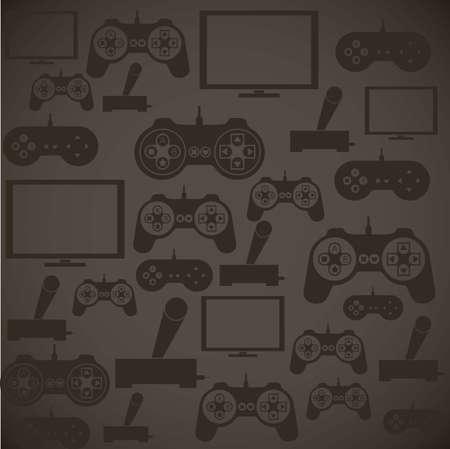 joy pad: illustration of game controls, Videogames Silhouettes, vector illustration