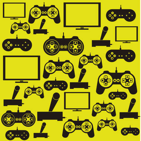 gaming: illustration of game controls, Videogames Silhouettes, vector illustration