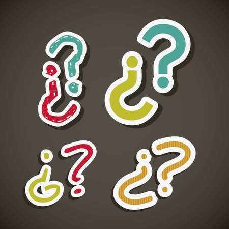 oversize: Icon of question, question mark in colors,  vector illustration
