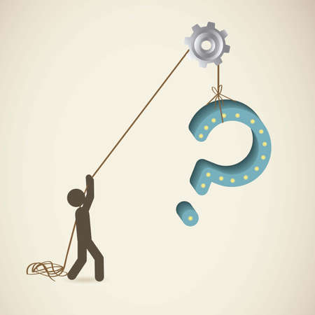 oversize: Icon of question, person pulling a Question, vector illustration