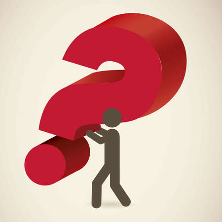 Icon of question, person pulling a Question, vector illustration Stock Vector - 17001852