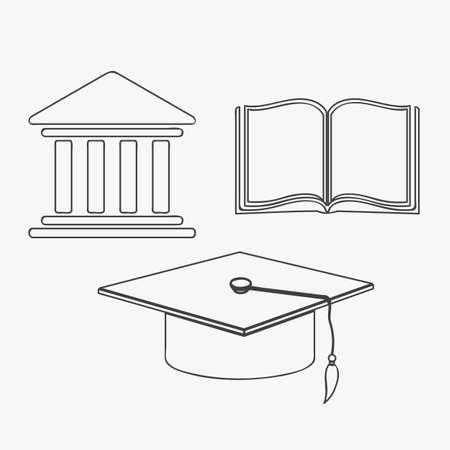 credential: illustration of  university icons in gray button, vector illustration