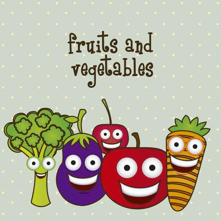 cartoon illustration of vegetables and fruits, vector illustration