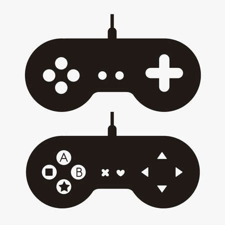 video gaming: illustration of game controls, Videogames Silhouettes, vector illustration