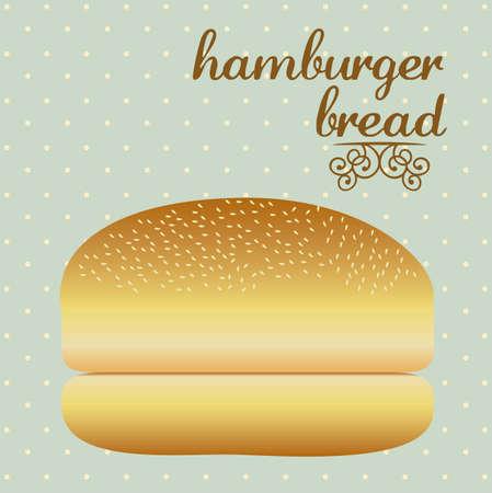 sesame seed: Illustration of hamburger bread, bakery icon, vector illustration