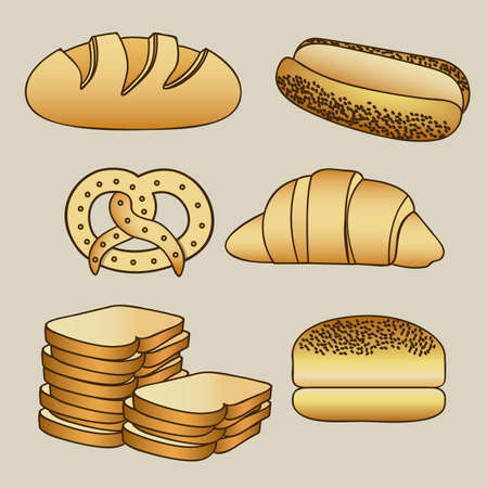 crust crusty: Illustration of hamburger bread, classic bread, croissant, chopped bread, hot dog bread, pretzel. bakery icon, vector illustration Illustration