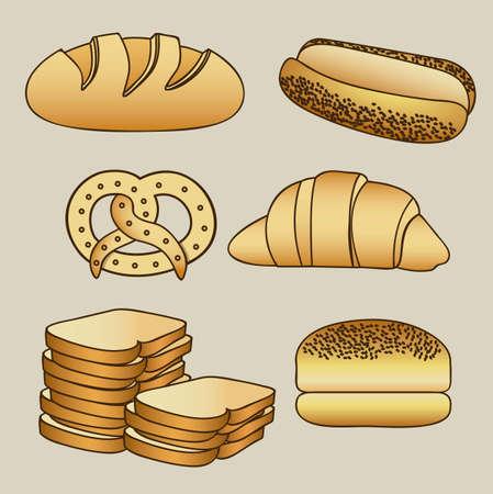 chopped: Illustration of hamburger bread, classic bread, croissant, chopped bread, hot dog bread, pretzel. bakery icon, vector illustration Illustration