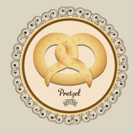 homemade bread: Illustration of pretzel and food, bakery icon, vector illustration