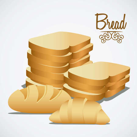 Illustration of  classic bread, croissant, chopped bread. bakery icon, vector illustration Vector