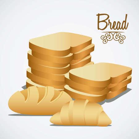 kitchen studio: Illustration of  classic bread, croissant, chopped bread. bakery icon, vector illustration Illustration