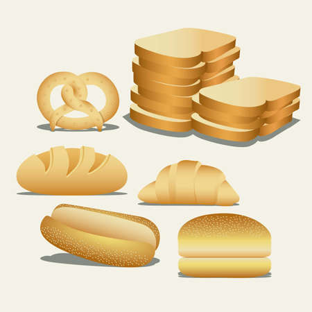 Illustration of hamburger bread, classic bread, croissant, chopped bread, hot dog bread, pretzel. bakery icon, vector illustration Stock Vector - 17004504