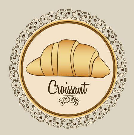 pan con mantequilla: Ilustraci�n del croissant y la alimentaci�n, panader�a icono, ilustraci�n vectorial Vectores