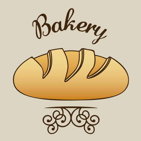 Illustration of classic bread, bakery icon, vector illustration
