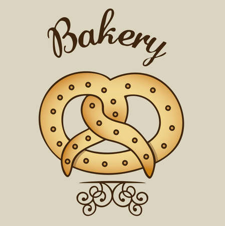necessity: Illustration of pretzel and food, bakery icon, vector illustration