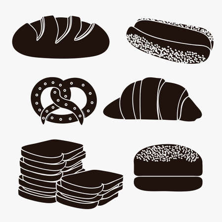 Illustration of hamburger bread, classic bread, croissant, chopped bread, hot dog bread, pretzel. bakery icon, vector illustration