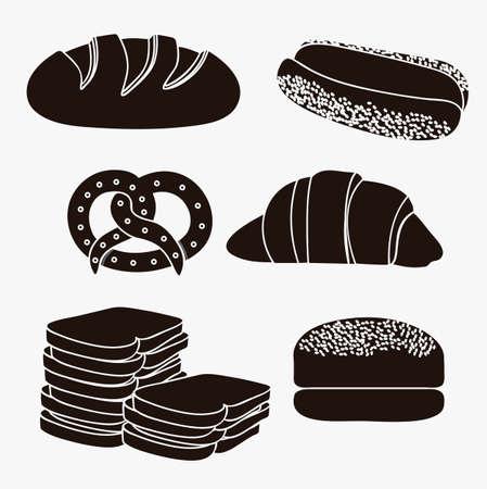 kitchen studio: Illustration of hamburger bread, classic bread, croissant, chopped bread, hot dog bread, pretzel. bakery icon, vector illustration Illustration