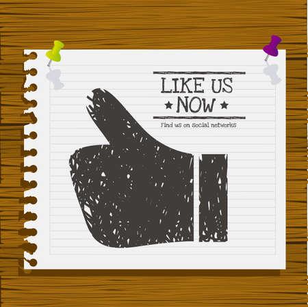 follower: Illustration icon social networks, like us Icons, vector illustration