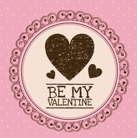 febuary love glossy shiny creative: Illustration be my valentine. Valentines day celebration, vector illustration Illustration