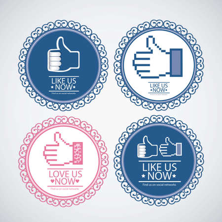 follow icon: Illustration icon social networks, like us Icons, vector illustration