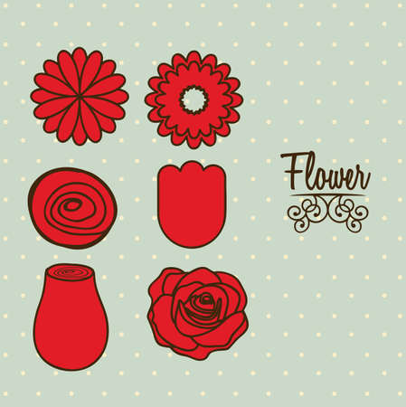 Illustration flowers icons, spring and valentines day, vector illustration Stock Vector - 17002548
