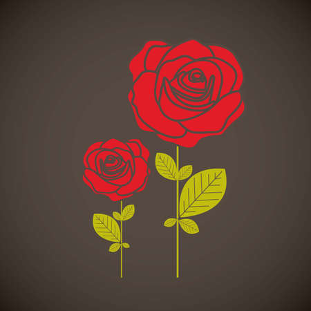 Illustration flowers icons, roses and valentines day, vector illustration Stock Vector - 17002460
