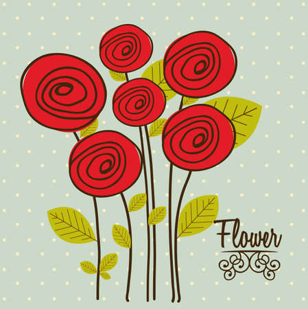 Illustration flowers icons, roses and valentines day, vector illustration Stock Vector - 17002519