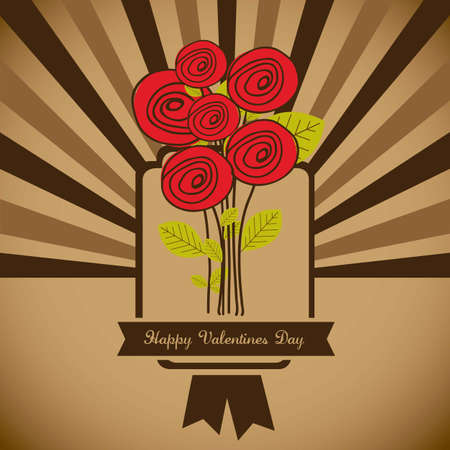 Illustration flowers icons, roses and valentines day, vector illustration Stock Vector - 17002488