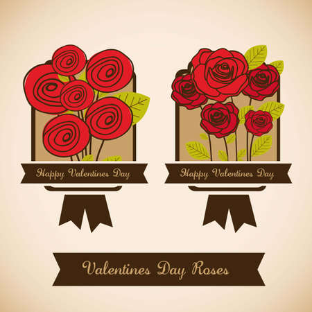 Illustration flowers icons, roses and valentines day, vector illustration Stock Vector - 17002871