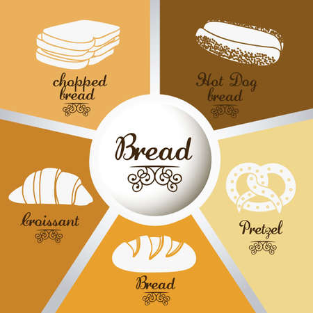 Illustration of  classic bread, croissant, chopped bread, hot dog bread, pretzel. bakery icon, vector illustration Stock Vector - 17004294