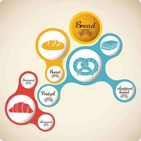 Illustration of  classic bread, croissant, chopped bread, pretzel. bakery icon, vector illustration Stock Vector - 17001837