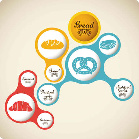 chopped: Illustration of  classic bread, croissant, chopped bread, pretzel. bakery icon, vector illustration