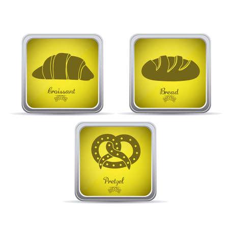 Illustration of classic bread, croissant,  pretzel. bakery icon, vector illustration Stock Vector - 17001823