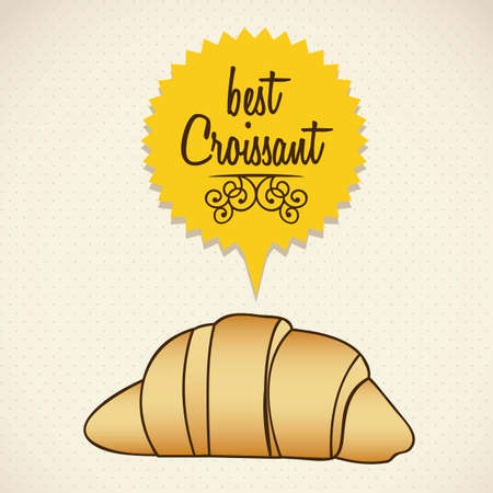 buttery: Illustration of croissant and food, bakery icon, vector illustration